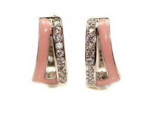 Cercei din argint 925 cu email roz
