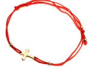 Bratara cu snur rosu si cruciulita din aur