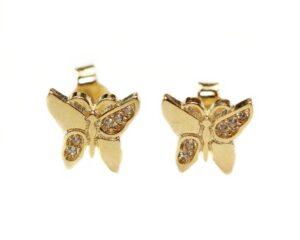 Cercei din aur cu surub fluturasi