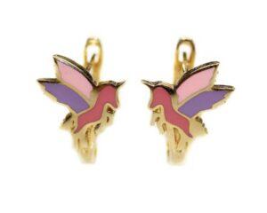 Cercei din aur pentru copii cu unicorni