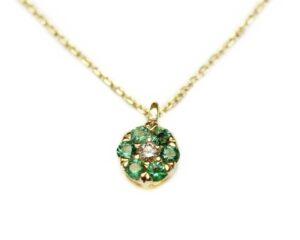 Lant din aur cu pandantiv cu diamant si smaralde