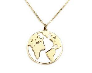Lant din aur cu pandantiv globul pamantesc