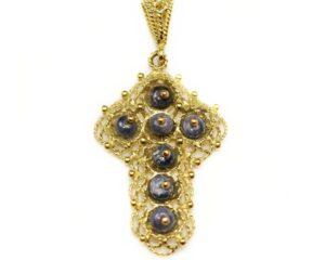 Pandantiv din aur 18k cruce cu topaz