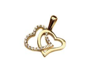 Pandantiv din aur doua inimi