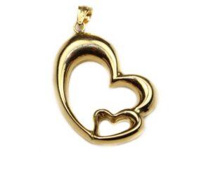 Pandantiv din aur doua inimioare