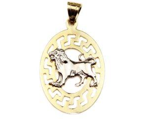 Pandantiv din aur galben zodia leu