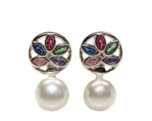 Cercei din argint 925 cu perla si pietre colorate