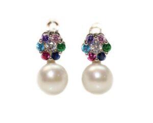 Cercei din argint cu perle si pietre colorate