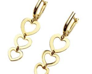 Cercei din aur cu inimioare