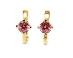 Cercei din aur pentru copii piatra roz