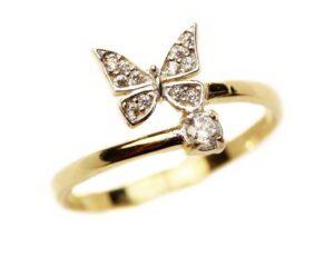 Inel din aur galben 14k fluturas