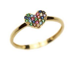 Inel din aur inima multicolora