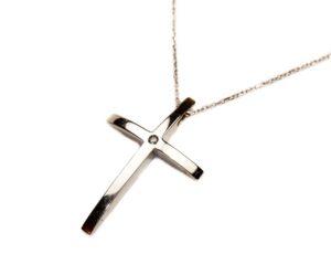 Lant din aur alb 14k cu pandantiv cruce